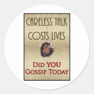 Poster descuidado de la propaganda de la charla pegatinas redondas