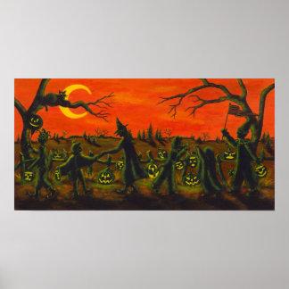 Póster Desfile de Halloween, bruja, payaso, gatos negros