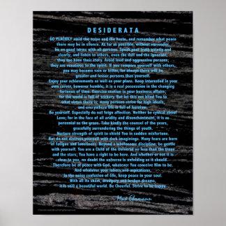 Póster Desiderátums azules en el mármol del negro del