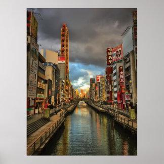 Póster Día moderno Osaka, Japón