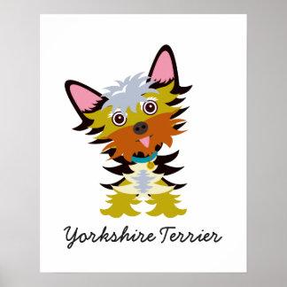 Póster Dibujo animado adorable de Yorkshire Terrier