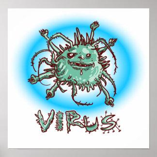 Póster dibujo animado divertido del virus feo