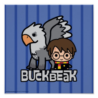 Póster Dibujo animado Harry Potter y Buckbeak