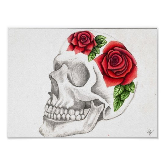 Póster Dibujo Color De Rosa Del Cráneo Zazzlees