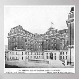Póster Dibujo de los arquitectos del hospital de Middlese
