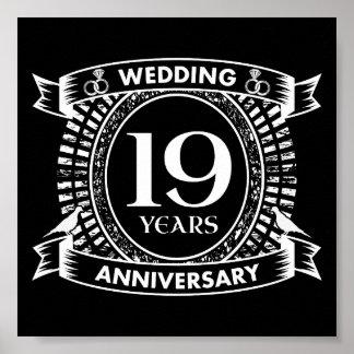 Póster diecinueveavo aniversario de boda blanco y negro