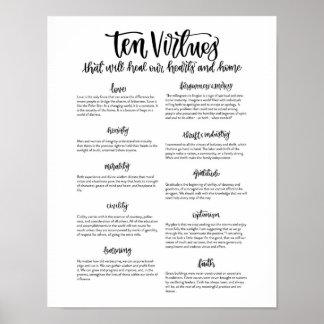 Póster Diez virtudes: Para curar nuestros corazones y