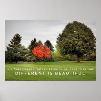 Póster Diferente es el poster hermoso