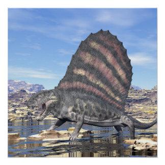 Póster Dimetrodon en el desierto - 3D rinden