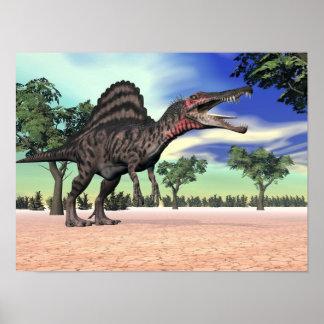 Póster Dinosaurio de Spinosaurus en el desierto - 3D
