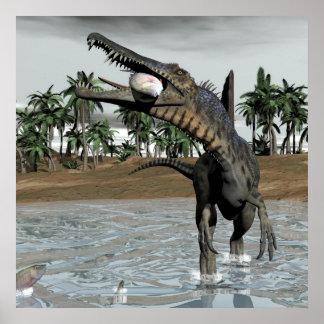 Póster Dinosaurio de Spinosaurus que come pescados - 3D