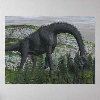 Póster Dinosaurio del Brachiosaurus que come el helecho -