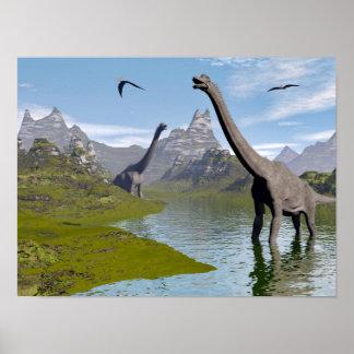Póster Dinosaurios del Brachiosaurus en agua - 3D rinden