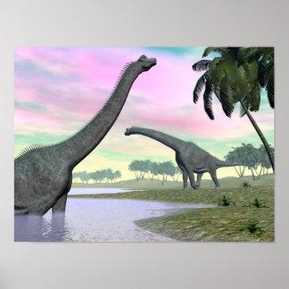 Póster Dinosaurios del Brachiosaurus en naturaleza - 3D