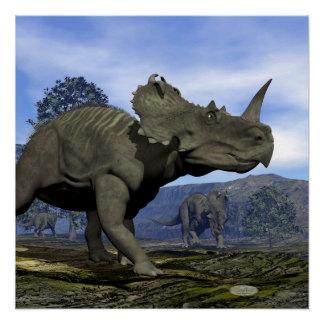 Póster Dinosaurios del Centrosaurus - 3D rinden