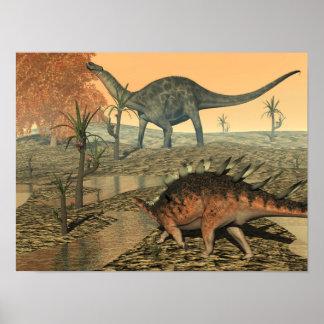Póster Dinosaurios del Dicraeosaurus y del kentrosaurus