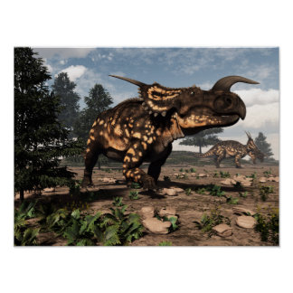 Póster Dinosaurios del Einiosaurus en el desierto - 3D