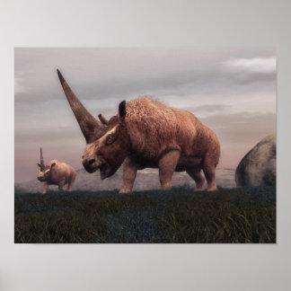 Póster Dinosaurios del mamífero de Elasmotherium - 3D