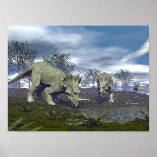 Póster Dinosaurios del Styracosaurus que van a regar - 3D