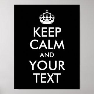 Póster Diseñe sus los propios guardan calma y su texto