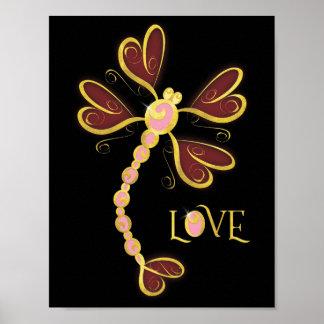 """Póster diseño bonito Corazón-con alas del oro del """"amor"""""""