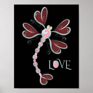 """Póster diseño bonito de plata Corazón-con alas del """"amor"""""""