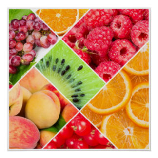 Póster Diseño colorido del modelo del collage de la fruta