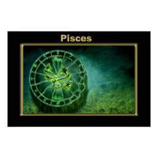 Póster Diseño de la astrología del zodiaco de Piscis