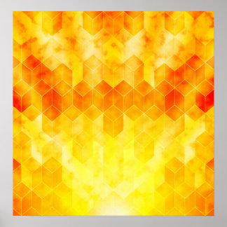 Póster Diseño geométrico del cubo del resplandor solar