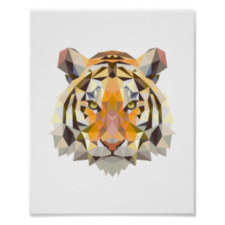 Póster Diseño geométrico nórdico del tigre