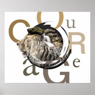 Póster Diseño inspirado del valor del león y de la