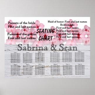 Póster Diseño mezclado carta del asiento del boda a