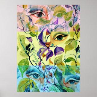 Póster Diseño surrealista psicodélico utópico de los ojos