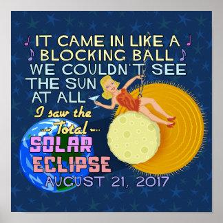 Póster Divertido americano eclipse solar del 21 de agosto