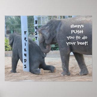 ¡Poster divertido del elefante, mejores amigos! Póster