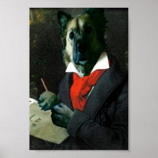 Póster Dogoven, músico del perro en el trabajo
