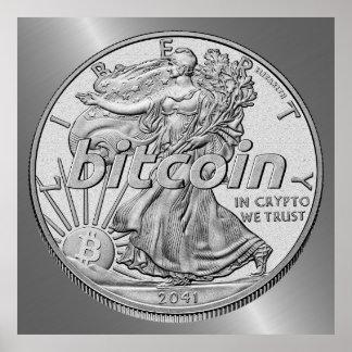 Póster Dólar de plata Bitcoin Cryptocurrency HODL
