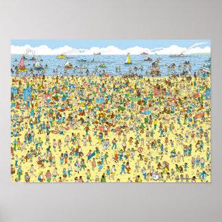 Póster Donde está Waldo en la playa