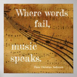 Póster Donde las palabras fallan ** la música habla - la