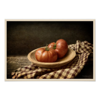 Póster Dos tomates rojos en un cuenco