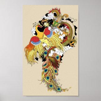 Póster Dragón y Phoenix chinos