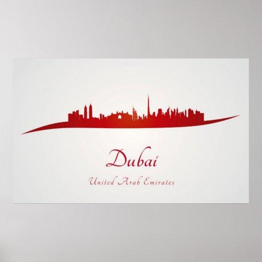 Póster Dubai skyline in red