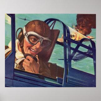 Póster duelo de los años 40 WWII en el aire