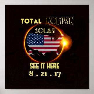 Póster Eclipse solar pared poster 21 de agosto total. LOS
