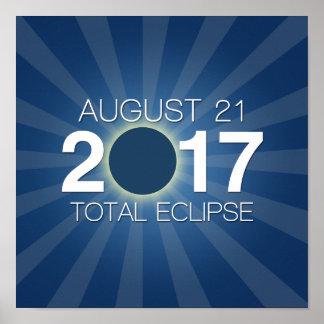 Póster Eclipse solar total 2017 - diseño azul
