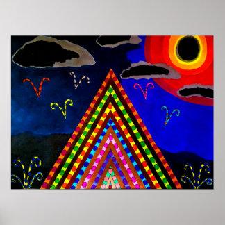 Póster Eclipse total - dibujo abstracto, surrealista,