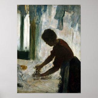 Póster Edgar Degas el planchar de la mujer
