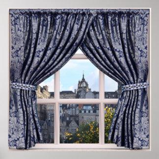 Póster Edimburgo, Escocia - falsa opinión de la ventana