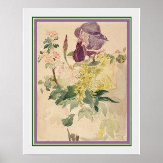 Póster Eduardo Manet - estampado de flores 16 x 20