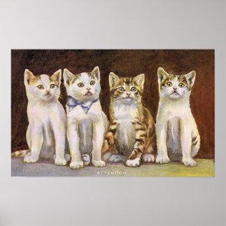 Póster Ejemplo lindo del vintage de cuatro gatitos